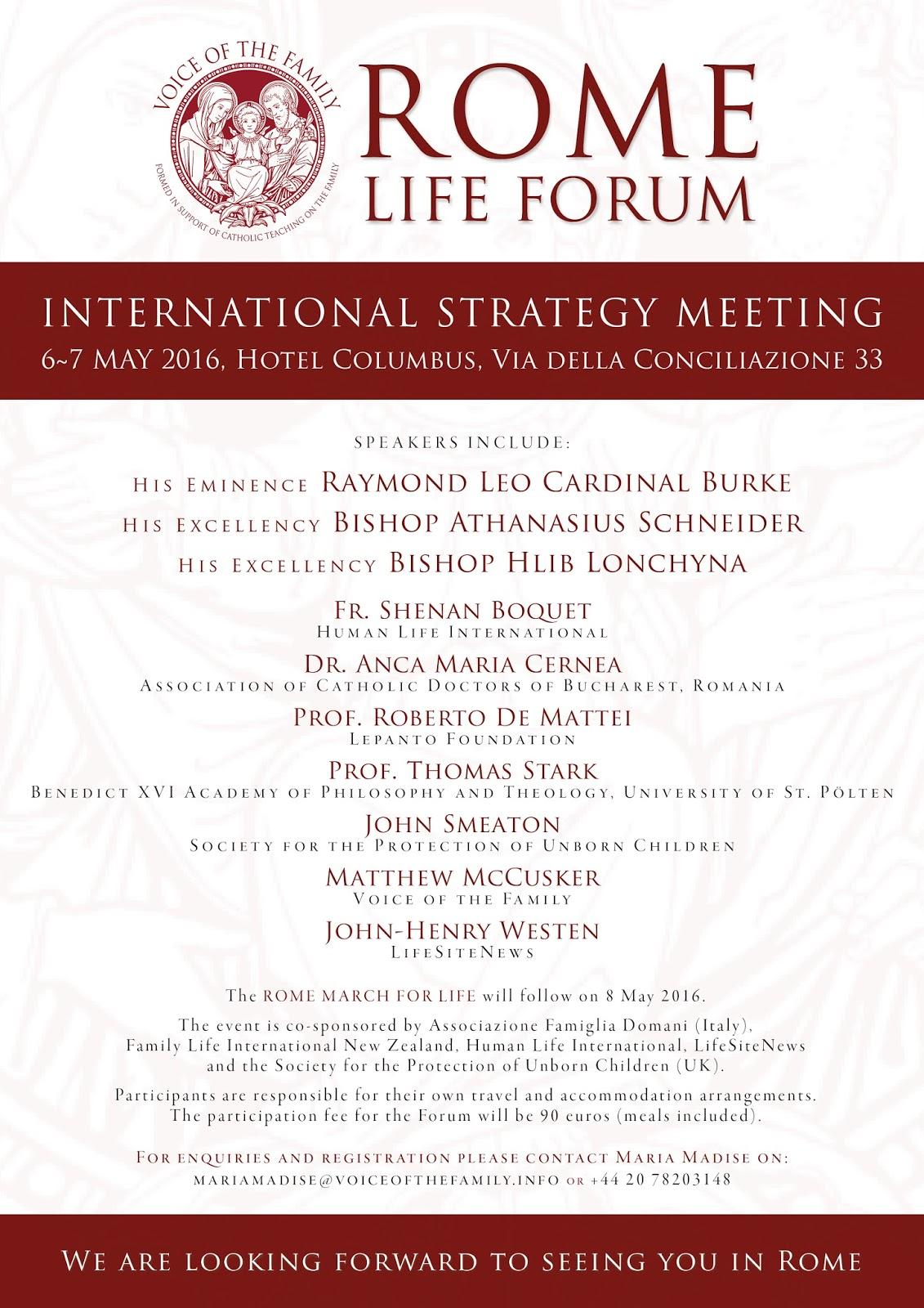 ROME LIFE FORUM 2016 LEAFLET